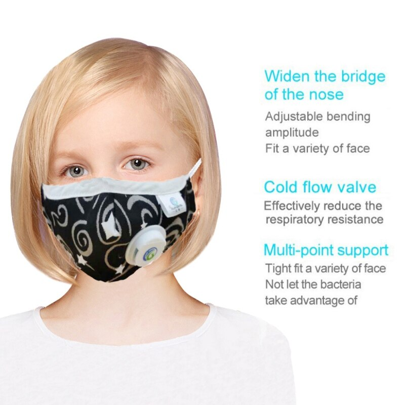 Children Mask With Breath Design Replaceable Filter Anti Dust Mouth Mask PM2.5 Respirator Kids Face Masks in stock DER