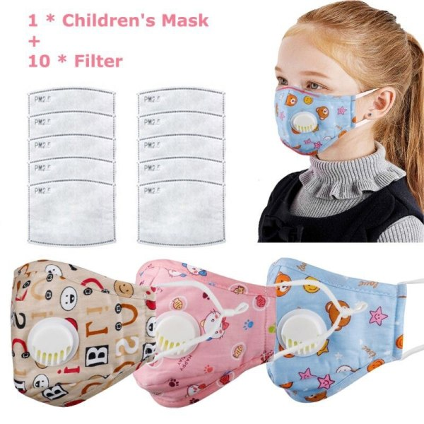 Children Mask With Breath Design Replaceable Filter Anti Dust Mouth Mask PM2.5 Respirator Kids Comfortable Health Care Face Mask