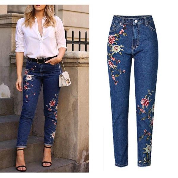Ladies's Clothes Straight Denim Denims Pants 3D Floral Embroidery