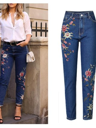 Ladies's Clothes Straight Denim Denims Pants 3D Floral Embroidery