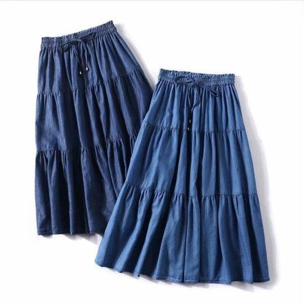 Strong Shade Korean Model Girls Lengthy Skirts