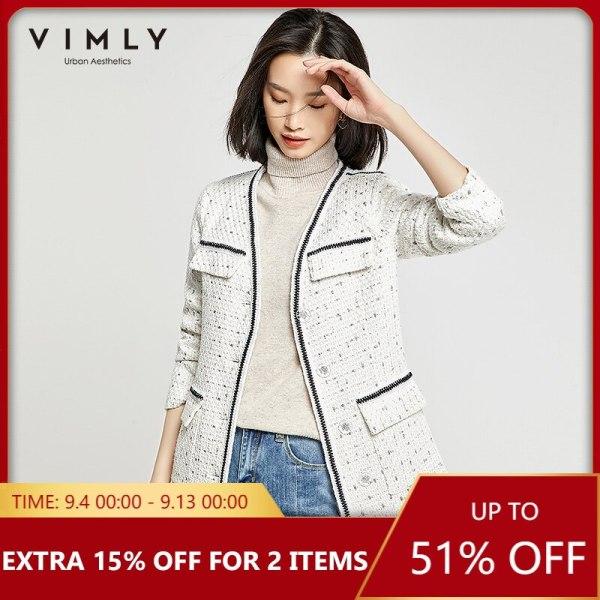 Vimly Ladies Jacket Elegant Workplace Girl Single Breasted Patchwork