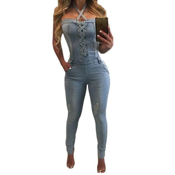 Denim Overalls Girls Horny Halter Denims Jumpsuits