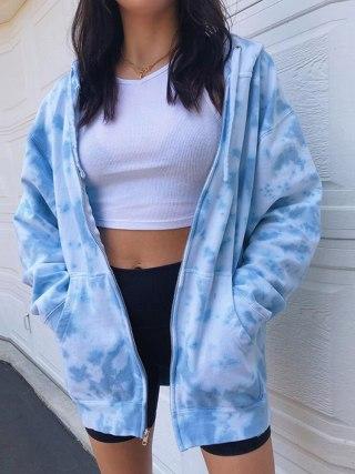 Y2K Tie Dye Print Hooded Women Jacket Summer Zipper Drawstring Sweatshirt Loose Fashion Sweetwear Pockets Thin Coats Crop Tops