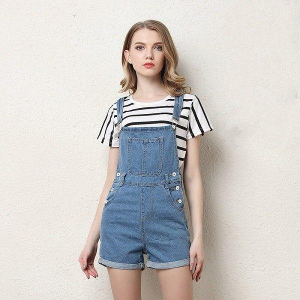 Denim Overalls Fashion Playsuit Dungarees High Waist