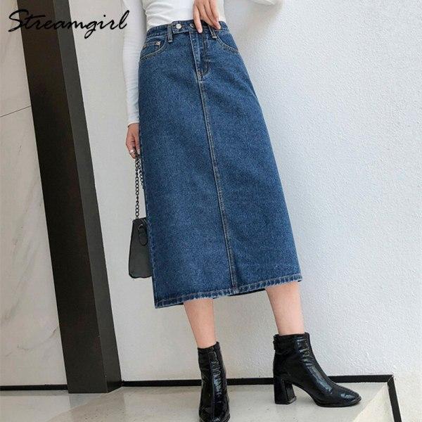 Denim Lengthy Slim Denims Autumn Classic Skirt