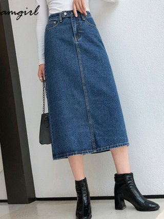 Denim Lengthy Slim Denims Autumn Classic Skirt