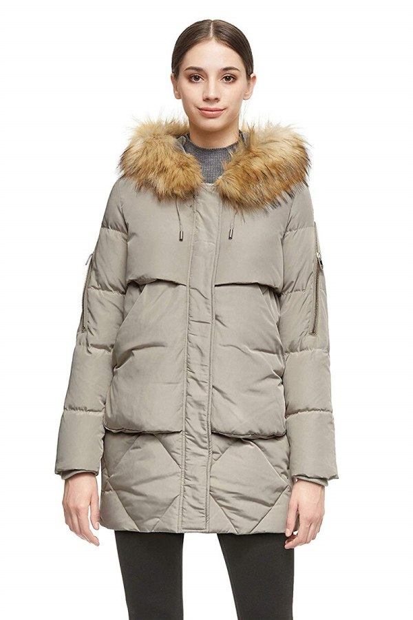 Ladies Jacket with Detachable Fur Hood Giant Pockets