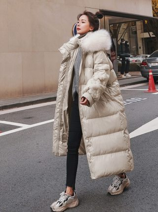 Winter feminine Korean zipper Fake fur Hooded Lengthy Parker