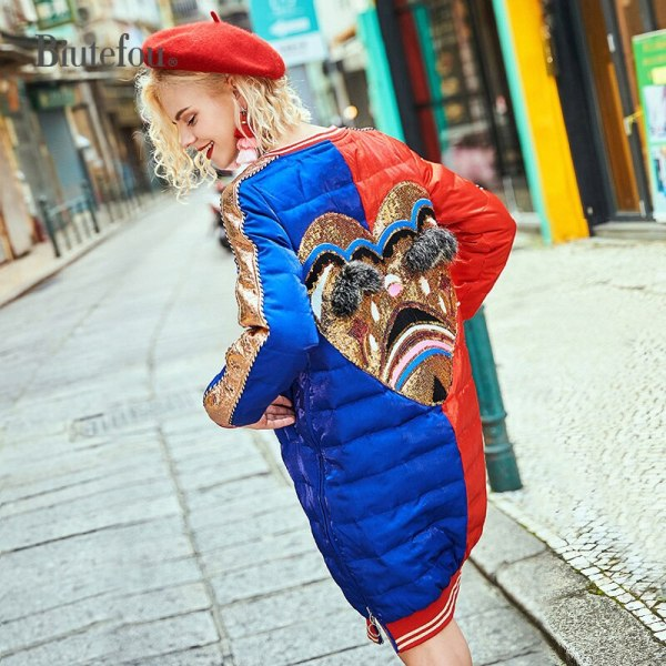 Winter raccoon fur diamond lengthy coats style