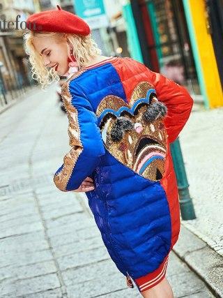Winter raccoon fur diamond lengthy coats style