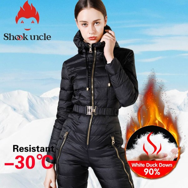 Winter new girls's slim match jumpsuit 90% White Duck down jacket