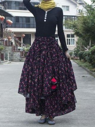 Girls Ethnic model cotton linen Lengthy Skirts