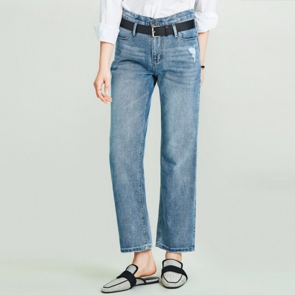 Girls's Retro Washed Previous Straight Denim Lengthy