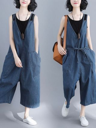 Spring Autumn V-neck Sleeveless Girl Jean Jumpsuit