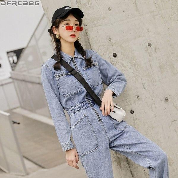 Streetwear Lengthy Sleeve Denim Overalls Girls Elastic Excessive