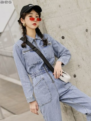 Streetwear Lengthy Sleeve Denim Overalls Girls Elastic Excessive