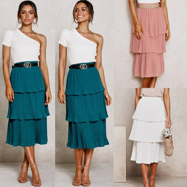 Lengthy Skirt Pink White Korean Fashion Skirts