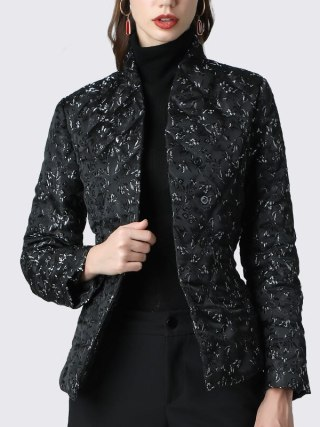 Jacket Elegant Floral Printed Black Slim Quick Duck Down Coat