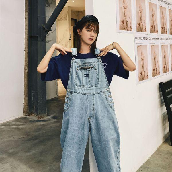 Korean Girls Blue Unfastened Denim Overalls Jumpsuit