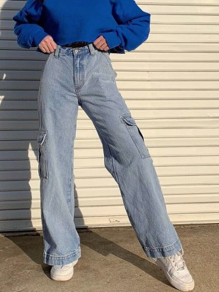 Girls's Overalls Excessive Waist Denims