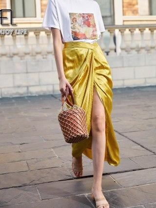 Excessive Cut up Skirt Girl Retro Lengthy Satin Skirt