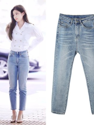 Kpop Korean Celeb identical Mild blue Straight denim