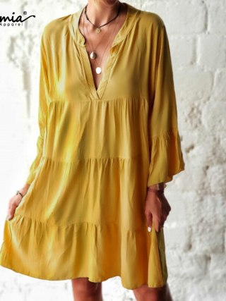 Celmia Bohemian Girls Horny Mini Sundress 5XL