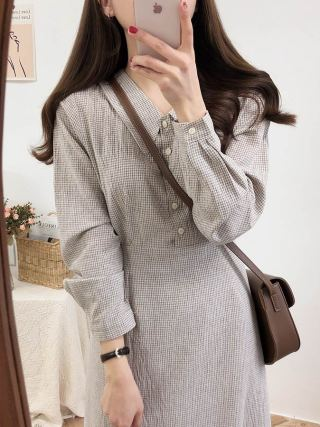 Classic Gown plaid buttons Lengthy Sleeve Girls