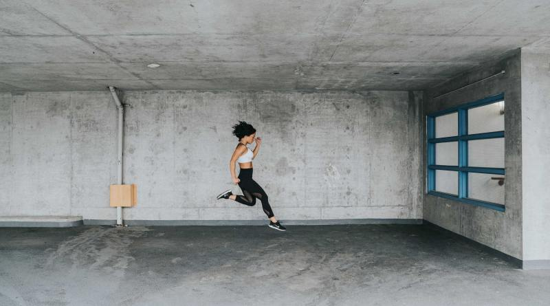 warmup garage jump woman