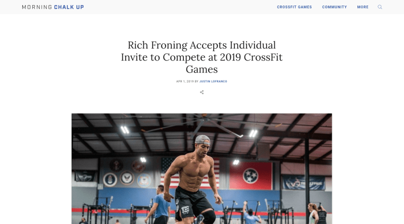 Morning Chalk Up reporting Rich Froning will return to individual competition