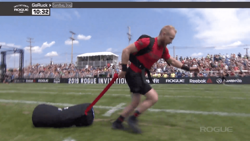 Graham Holmberg takes first in the Legends GoRuck event at the Rogue Invitational.