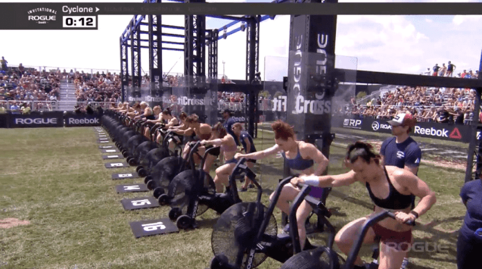 Athletes make it to the Rogue Echo Bikes right around the ten-second mark.