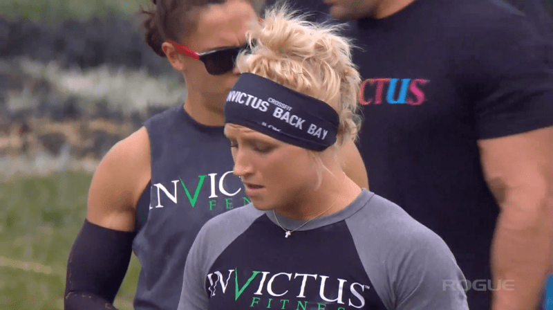 Kelsey Kiel of CrossFit Invictus Back Bay prepares for the final round of the Rogue Invitational Tug-of-War team event.