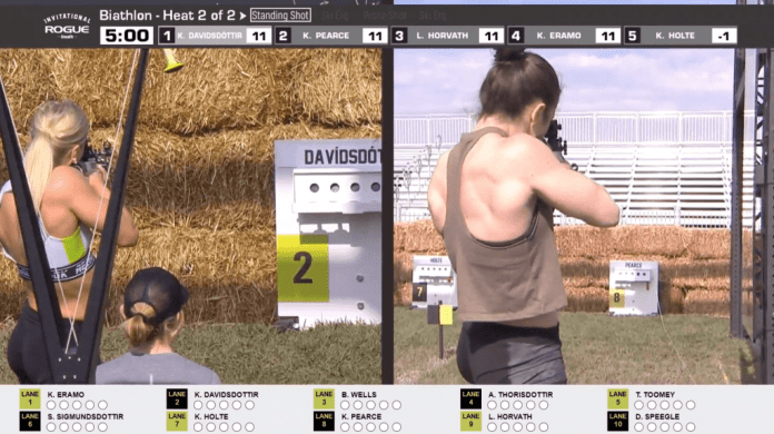 Katrin Davidsdottir and Kari Pearce are the first athletes back to the range in the Concept2 Biathlon shooting event.