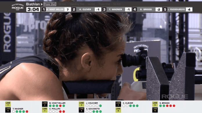 Annie Sakamoto hit four of her first five prone shots in the Concept2 Biathlon at the Rogue Invitational Legends event.