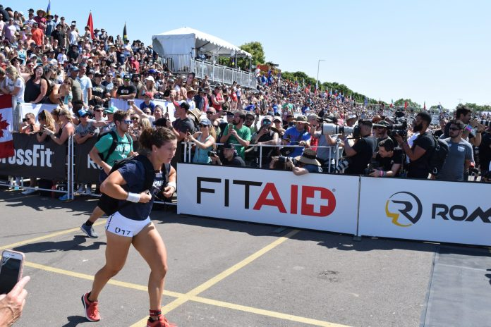 Tia-Clair Toomey completes the Ruck Run event at the 2019 CrossFit Games