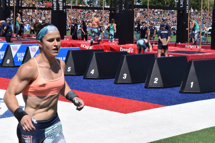 Kari Pearce completes a run before legless rope climbs at the 2019 CrossFit Games
