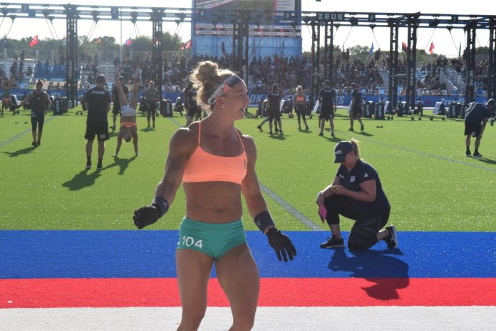 Amanda Barnhart crosses the finish line at the 2019 CrossFit Games