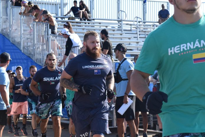 Dean Linder-Leighton enters the stadium for the first event of the 2019 CrossFit Games