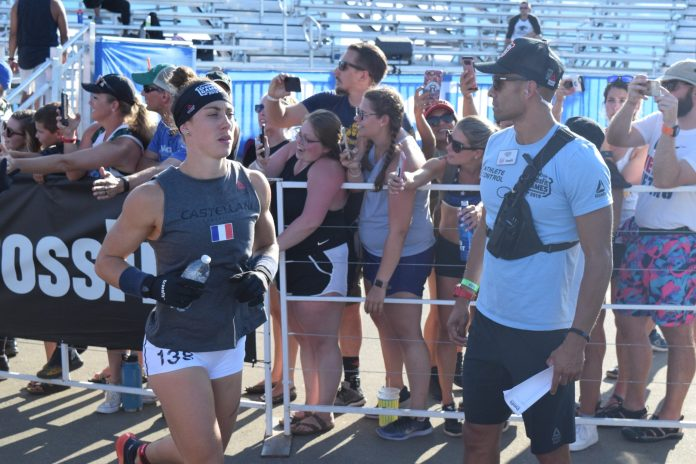 Carole Castellani takes the field for the first event of the 2019 CrossFit Games
