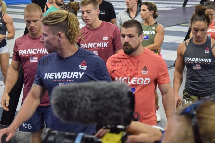 James Newbury of Australia on the floor of the Coliseum on the last day of the 2019 CrossFit Games