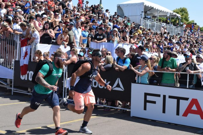 Nick Bloch of the United States completes the Ruck Run event at the 2019 CrossFit Games