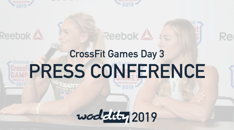 Katrin Davidsdottir and Brooke Wells joined other prominent athletes at the end of day press conference for day three of the CrossFit Games.