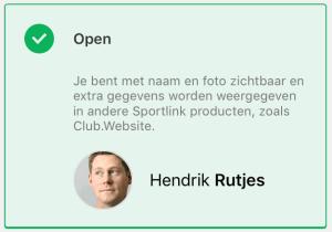 Sportlink app privacyniveau open