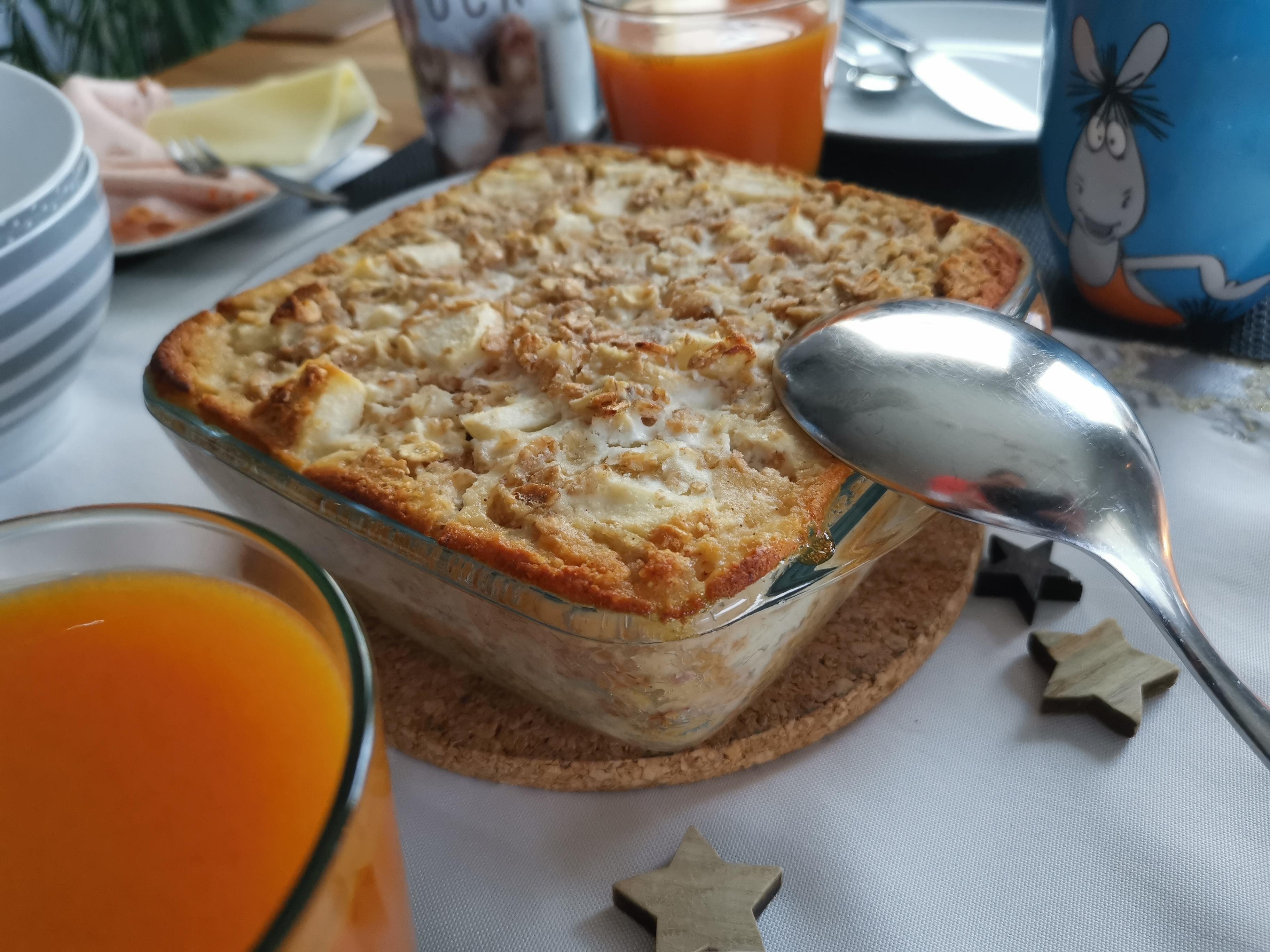 Frühstücksauflauf mit Birne und Banane