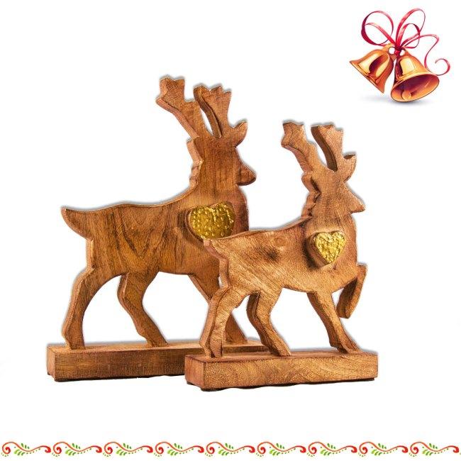 Rentier Elch aus Mango Holz mit Herz Goldfarben