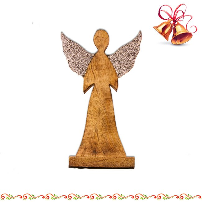 Engel aus Mango-Holz zum Aufstellen, mit Strass in Silberfarben, Vintage Look