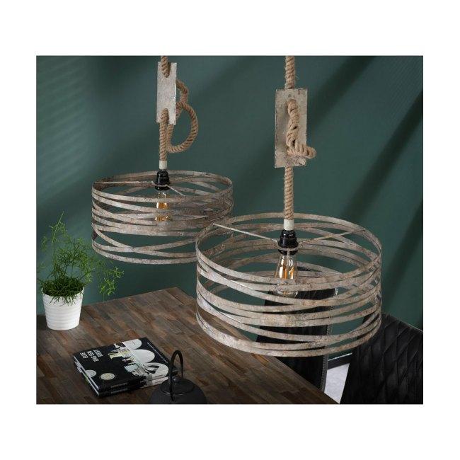 Hängelampe aus gealtetem Zink, 2 x Leuchten ∅ 40 cm, Industrial Look