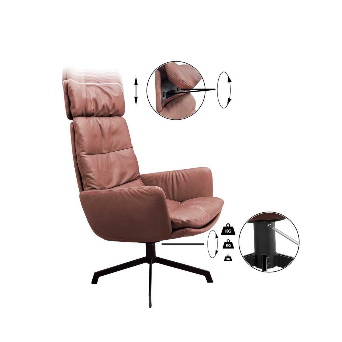 Arva Lounge KFF Sessel drehbar 4-Fuss-Stern-Gestell